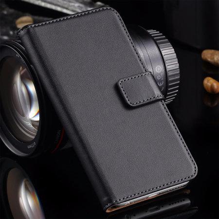 Genuine Leather iPhone SE 2020 Wallet Case - Black