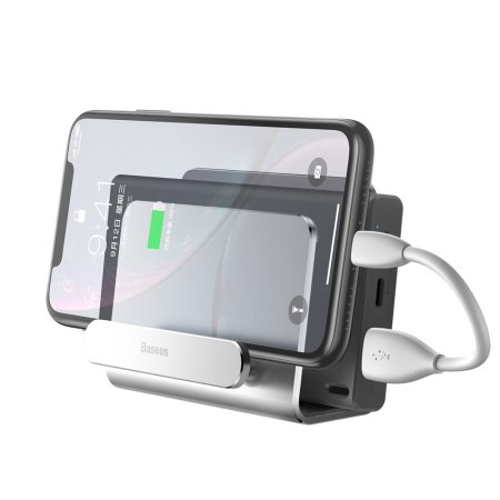 Baseus Aluminium Alloy Wall Mount Holder For Smartphone - Silver