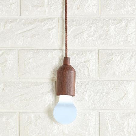 Kikkerland Battery Powered Portable Pull Cord LED Light - Vintage Wood