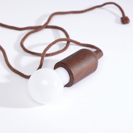 Kikkerland Battery Powered Portable Pull Cord LED Light - Vintage Wood