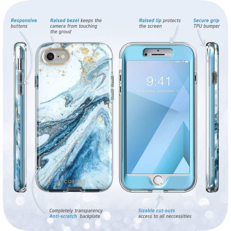 i-Blason Cosmo iPhone SE 2020 Slim Case & Screen Protector-Marble Blue