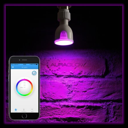 Auraglow Bluetooth Colour Changing LED Smart Light Bulb - White