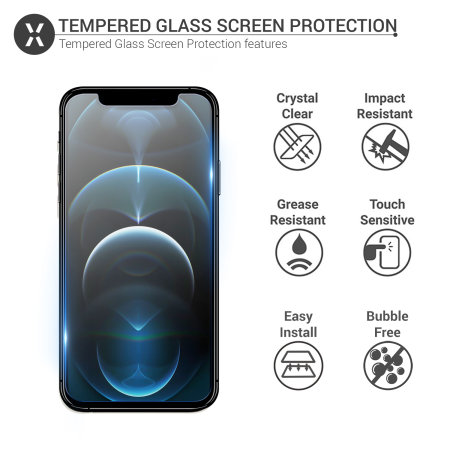 Olixar iPhone 12 Pro Tempered Glass Screen Protector - Clear