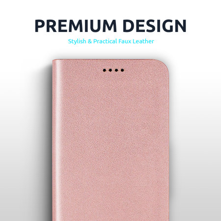 Olixar Leather-Style iPhone 12 mini Mirror Stand Case - Rose Gold