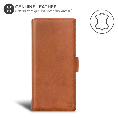 Olixar Genuine Leather Samsung Galaxy Note 20 Wallet Case - Brown