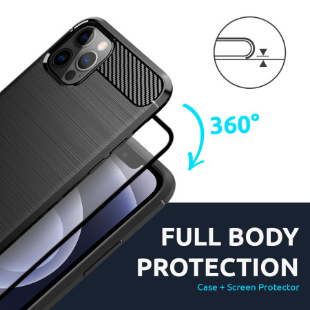 Olixar Sentinel iPhone 12 Pro Case & Glass Screen Protector - Black