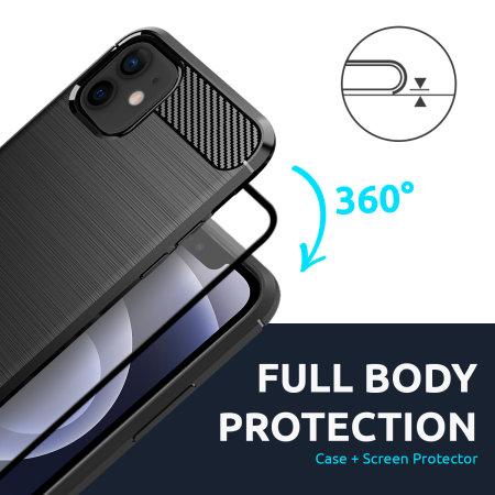 Olixar Sentinel iPhone 12 Case & Glass Screen Protector - Black
