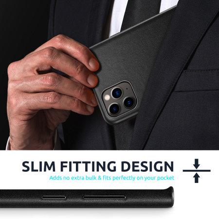 Olixar Genuine Leather iPhone 12 Pro Max Case - Black