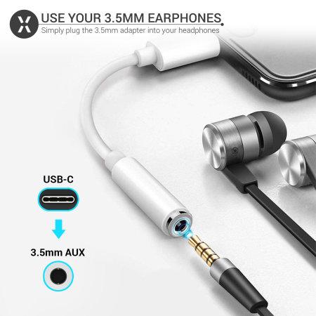 Olixar USB-C To 3.5mm Audio Headphone Adapter - White