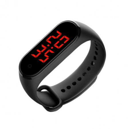 Contact Personal Thermometer & Digital Watch Smartband - Black
