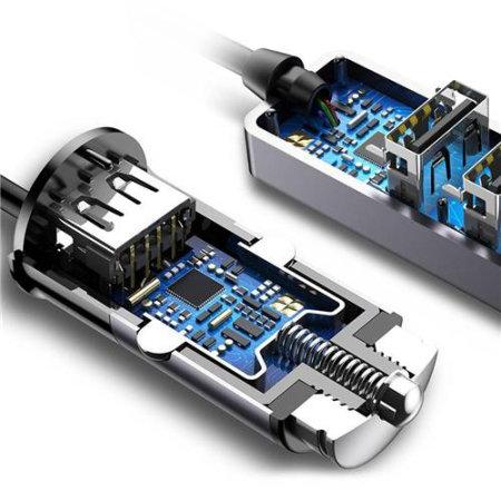 Baseus Enjoy Together Quad USB 5.5A Port Car Extension Charger- Black