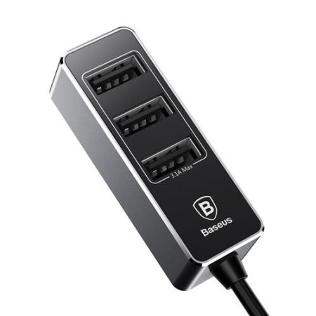 Baseus Enjoy Together Quad USB 5.5A Port Car Extension Charger- Black