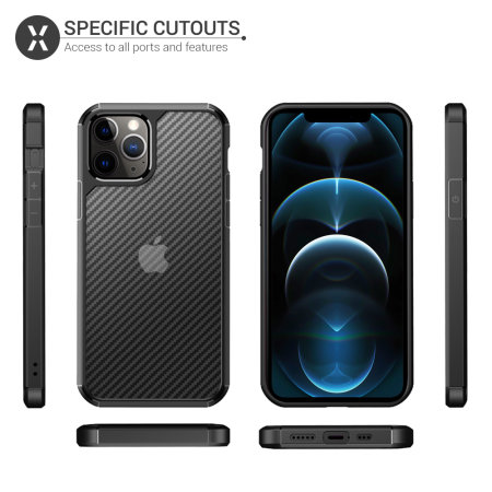 Olixar ExoShield Carbon iPhone 12 Pro Max Bumper Case - Black