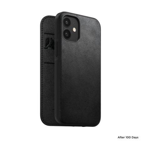 Nomad iPhone 12 mini Rugged Folio Protective Leather Case - Black