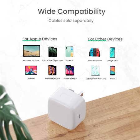 18W Single USB-C Super Fast PD Wall Charger - UK Plug - White