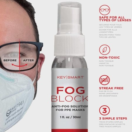 KeySmart FogBlock™ Anti-Fog Solution For PPE Masks and Glasses