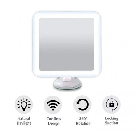 Auraglow 10X Magnifying Vanity Mirror With LED Light - White
