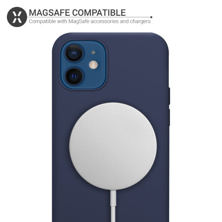 Olixar iPhone 12 MagSafe Compatible Silicone Case - Deep Blue