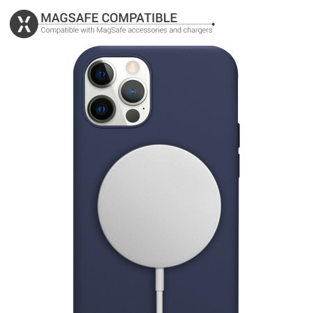 Olixar iPhone 12 Pro Max MagSafe Compatible Silicone Case - Deep Blue