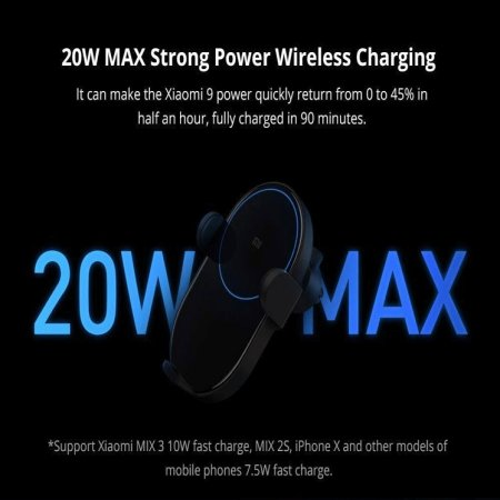 Xiaomi Adjustable Car Holder With 20W Wireless Qi Charging - Black