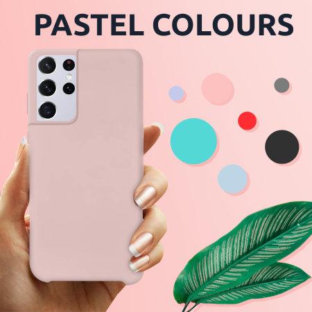 Olixar Samsung Galaxy S21 Ultra Soft Silicone Case - Pastel Pink