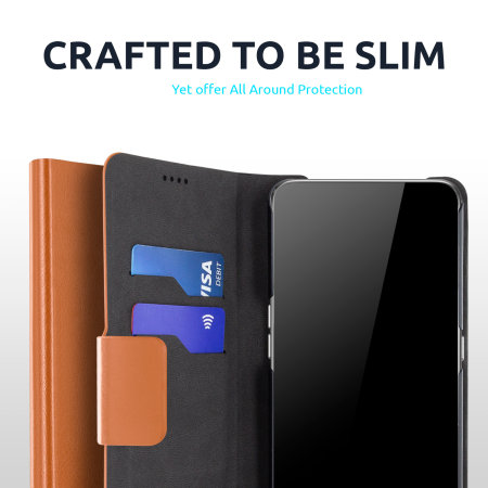 Olixar Leather-Style Samsung Galaxy A72 Wallet Stand Case - Brown