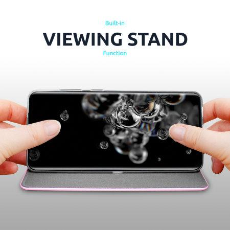 Olixar Soft Silicone Samsung Galaxy A52 Wallet Case - Pastel Pink