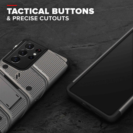 Zizo Bolt Samsung Galaxy S21 Ultra Tough Case & Screen Protector- Grey