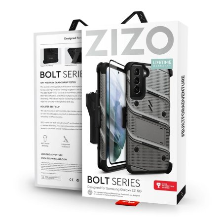 Zizo Bolt Samsung Galaxy S21 Tough Case & Screen Protector - Grey