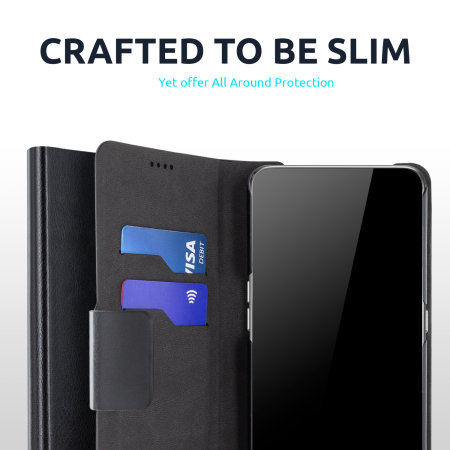 Olixar Leather-Style OnePlus 9 Pro Wallet Stand Case - Black