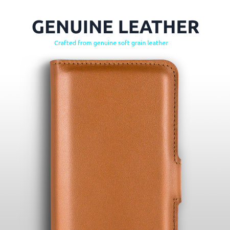 Olixar Genuine Leather OnePlus 9 Pro Wallet Stand Case - Brown