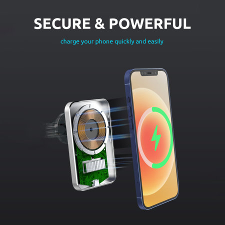 Olixar MagSafe Compatible Wireless Charging Car Holder - Black