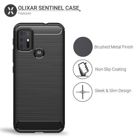 Olixar Sentinel Motorola Moto G10 Case & Glass Screen Protector- Black
