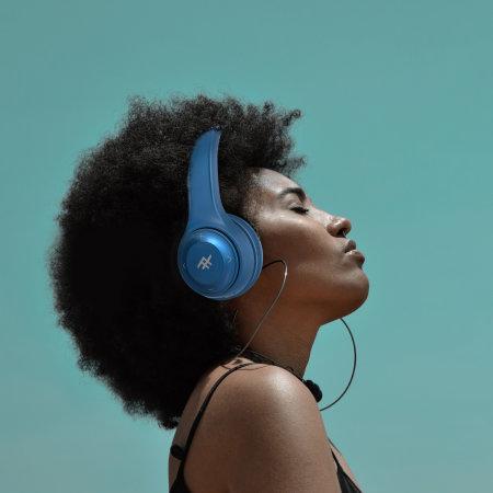 iFrogz Aurora Over-Ear Wireless Headphones W/ 3.5mm Audio Jack - Blue