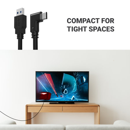 Oculus Quest 2 Link Right Angled USB-C Cable - 3m - Black