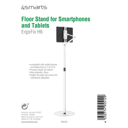 4smarts ErgoFix H6 Adjustable Floor Stand For Phone & Tablets - White