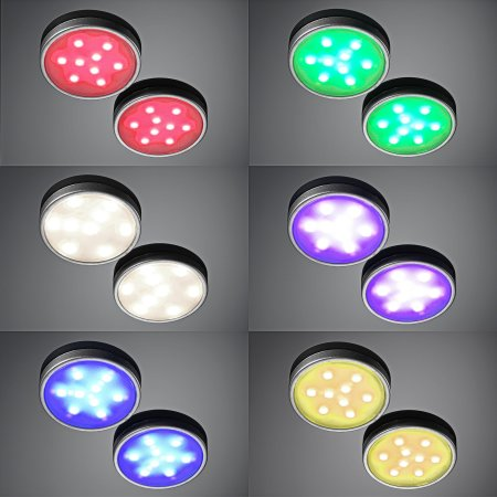 Auraglow LED White/Colour Changing Under Cabinet Puck Lights - 4 Pack