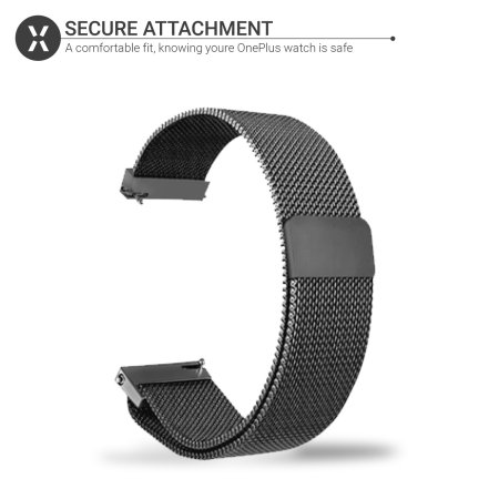Olixar OnePlus Watch 46mm Magnetic Milanese Strap - Black