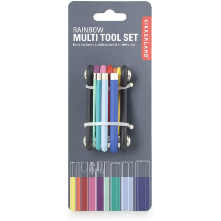Kikkerland Compact 10-in-1 Colour Coded DIY Tool Kit  - Multicolour
