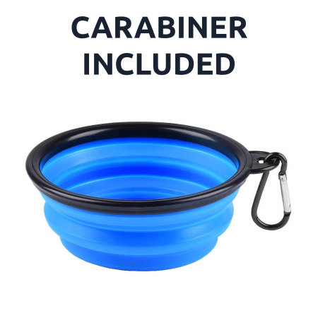 Olixar Portable Collapsible Pet Bowl With Black Carabiner  - Blue