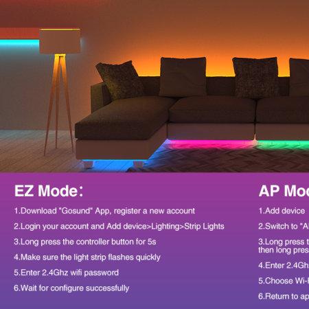 Gosund RGB LED Colour Changing Light Strips - 2.8m