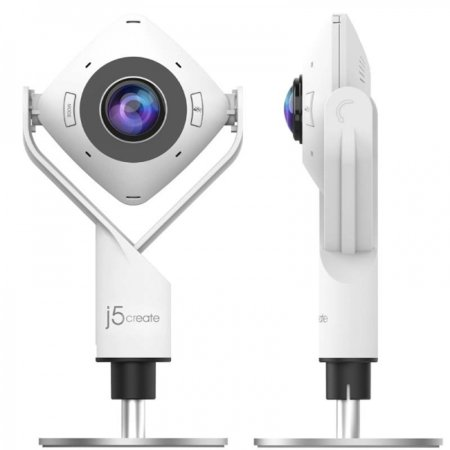 J5 Create 360° 1080p Panoramic Web Camera with HD Audio - White