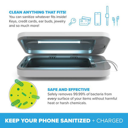 PhoneSoap Go UV Smartphone Sanitizer & Portable Charger- White