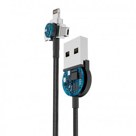 Forever Core Magnetic 3 in1 USB Data  Cable 1m - Black