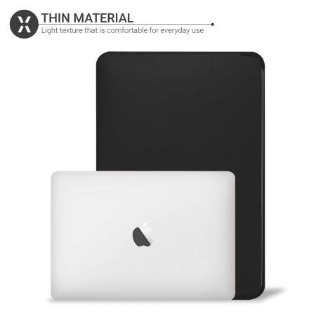 """Olixar MacBook Pro 13"""" 2020 Leather-Style Sleeve - Black"""