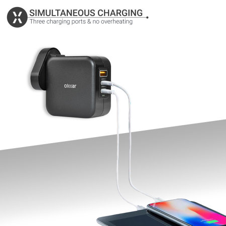 Olixar GaN USB-A & 2 USB-C Ports PD 65W Super Fast Wall Charger- Black