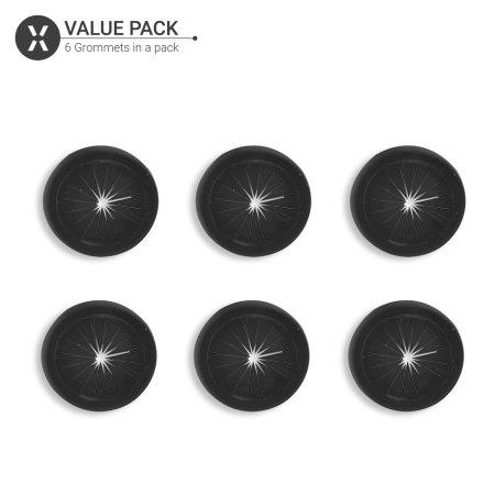 Olixar Cable Management Flexible Desk Grommets - 6 Pack - Black