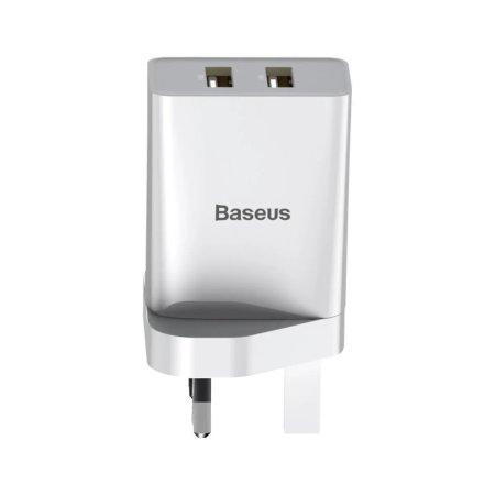 Baseus Speed Mini QC 10.5W Dual Port USB-A Mains Charger - UK - White