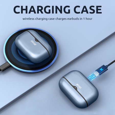 Olixar True Wireless Earbuds With Wireless Charging Case - Blue