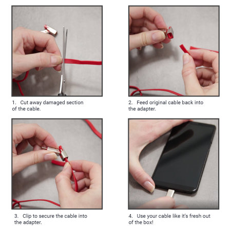Forever Cut&Fix USB to USB-C Repairable Cable - 1.5m - Red